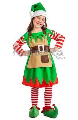 Disfraz de Elfa Navideña para Niña. Ideal para Navidad, Nochebuena, Nochevieja, cabalgatas y fiestas navideñas. Descubre más en www.esfantastica.com