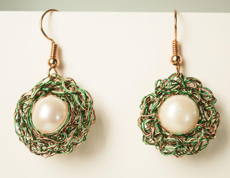 Wire crochet earring embellished fresh water pearls