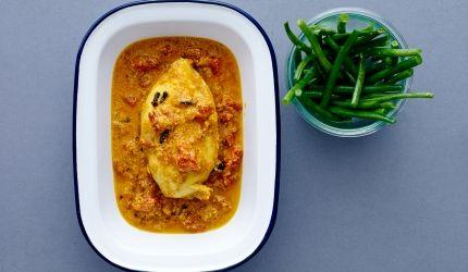 250 kalorier - Krydret kylling i tomat-yoghurt sauce | I FORM
