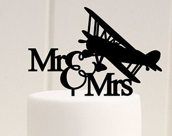 Original Airplane Wedding Cake Topper Mr and Mrs Biplane Cake Topper