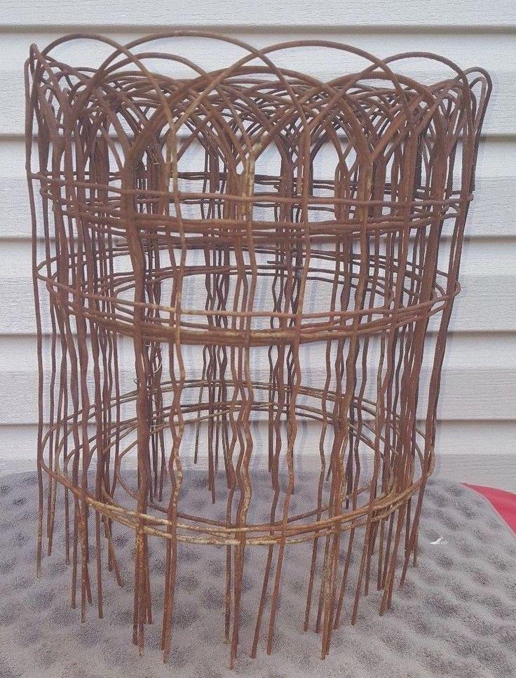 Vintage Primitive Rusty Metal Garden Fence Border Decor Approx 19ft Hairpin