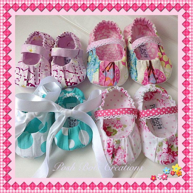 Little bundle of gorgeousness handmade by Karen of Posh Bots Creations #handmadeshoes #babyshoes #fabricshoes