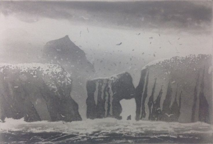 Norman Ackroyd RA's GANNETS ON FLANNAN at the RA Summer Exhibition 2015
