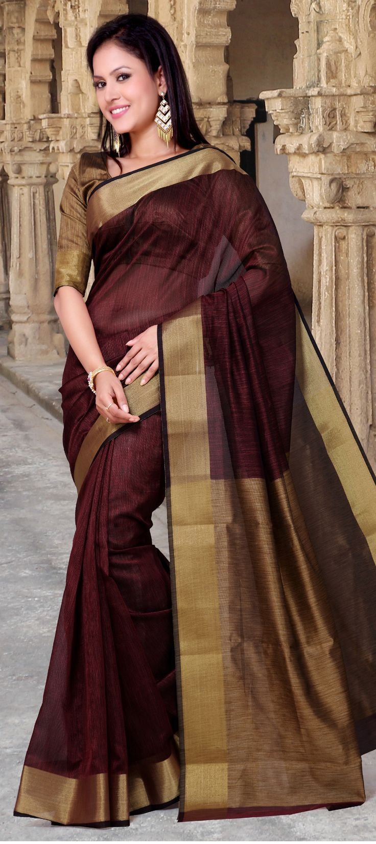 168204: Red and Maroon color family Silk Sarees with matching unstitched blouse.