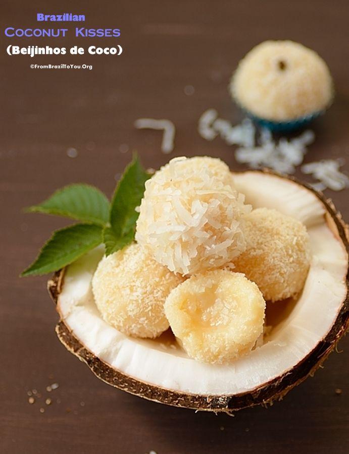 """Brazilian Coconut Kisses (Beijinhos de Coco) - Five-ingredient, quick """"SNOWBALLS""""...Make them for your children FROZEN themed party!!!"""