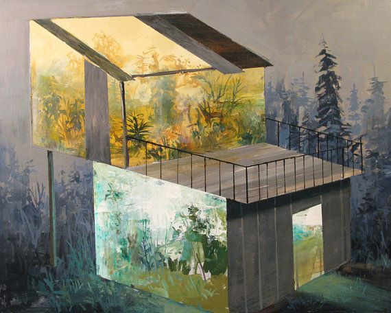 Stacked GreenhousesOriginal Painting by jeremymiranda on Etsy, $375.00