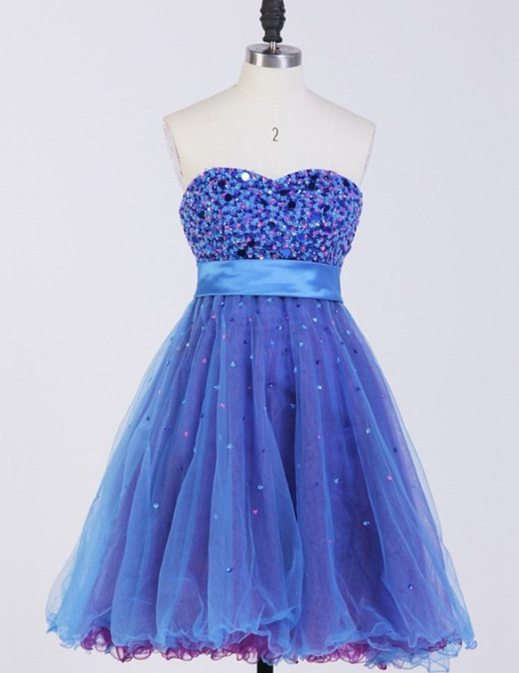 Sweetheart Short Homecoming Dresses,A-line Blue Empire Organza Homecoming…