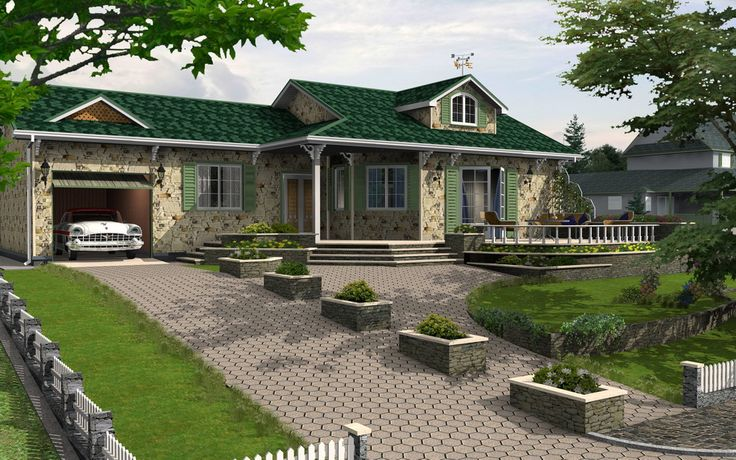 """""""Cottage in an Urban Area"""" - House 3D Model / Rendering - Created by Michael Pechkurov using TurboFloorPlan 3D Home & Landscape Pro v16 design software."""
