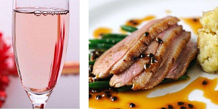 vinjournalen.se -  Vin & Mat : Lyxmiddag! Eleganta laxrosa bubblor och möra ankbröst |  Jubileumsmiddag inom familjen, romantisk middag på tu man hand eller fashionabel middag med bästa vännerna? Man behöver inte envisas med att servera canapéer om man vill dricka Champagne. En rosa Champagne förhöjer alla middagar och passar utmärkt med fågel och ljust kött. En nyhet som finns på S... http://wp.me/p73gTR-37M