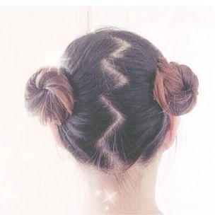 Clean Pigtail Buns With Zig Zag Hair Part Messy Buns