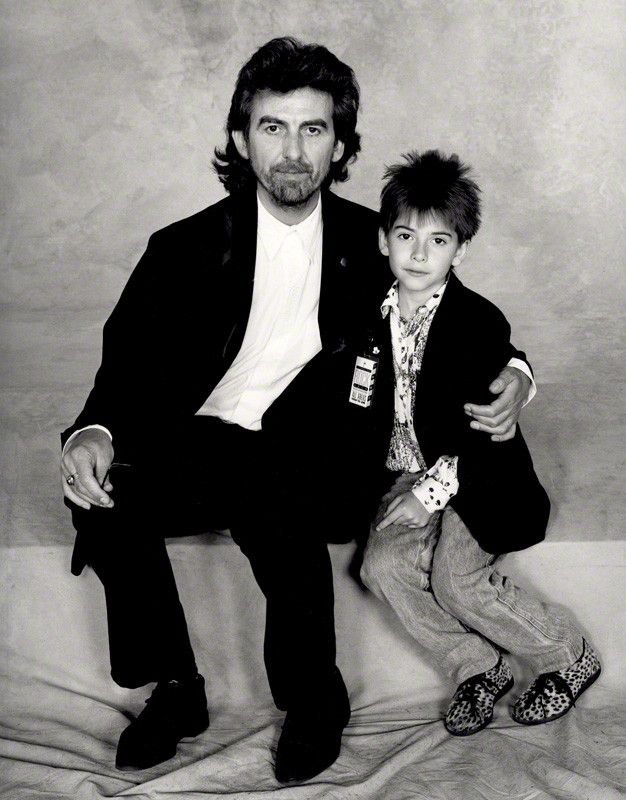 "thateventuality: "" George and Dhani Harrison, 1987, photographed by Terry O'Neill (source: National Portrait Gallery) "" ""'He's lovely,' says Harrison. 'He's good fun, good company. He can play When We..."
