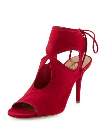 Sexy Thing Suede Cutout Sandal, Raspberry by Aquazzura at Neiman Marcus. | See more about Sandals, Sexy and Colors.