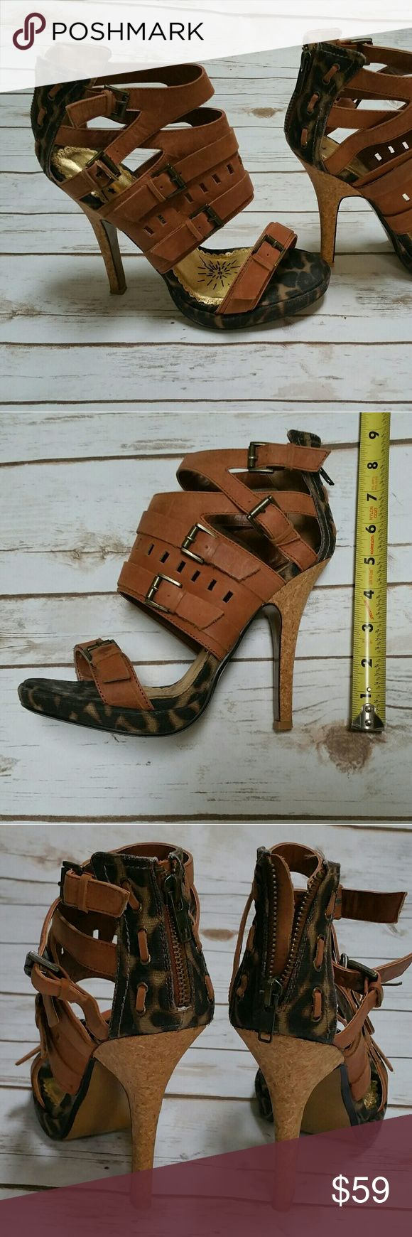 Naughty Monkey Gladiator Heeled Sandals Worn once. Like new condition. Size 8. Tan upper,  animal print sole,  cork look heels. naughty monkey Shoes Heels