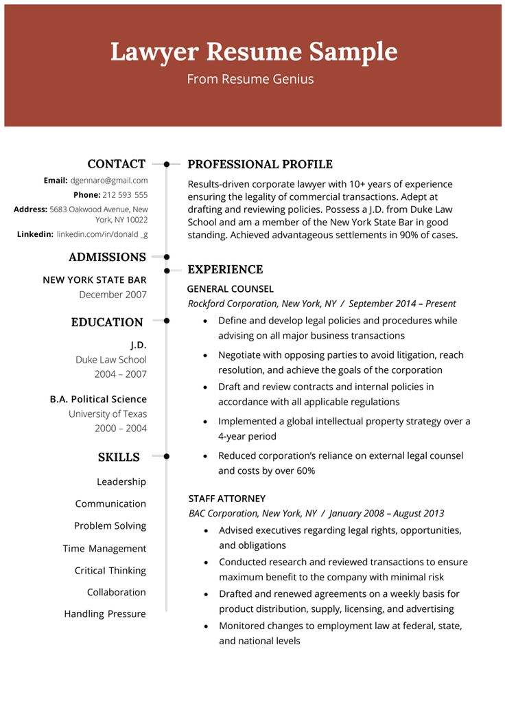 Lawyer Resume Sample & Writing Tips Functional resume