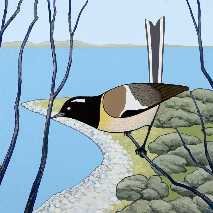 Don Binney a lovely bird by the sea.