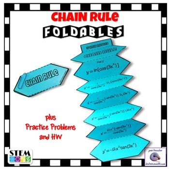 Calculus Chain Rule for Derivatives Foldable plus Homework.This activity is designed for AP Calculus AB, AP Calculus BC, Honors Calculus, and College Calculus 1. Great Organizer!!This fun activity / resource will help your students better understand the chain rule and all the steps involved.