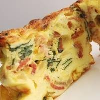 . This frittata recipe features spinach, bacon and cheddar cheese ...