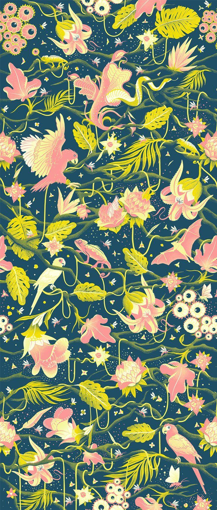 145 best fauna patterns images on pinterest print - Bat and poppy wallpaper ...