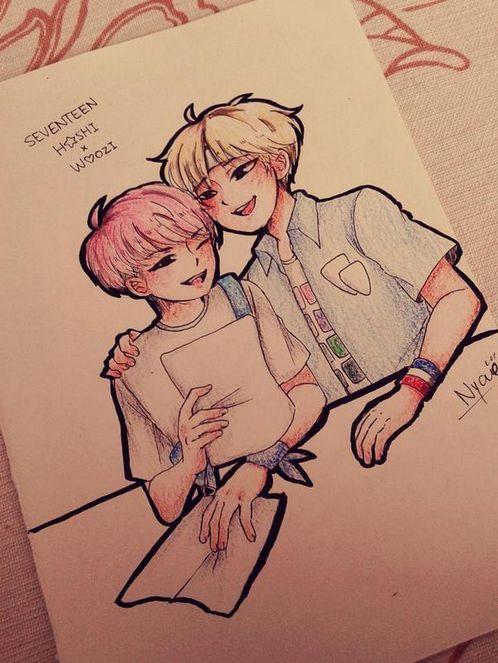 Woozi Amp Hoshi Seventeen Fan Art Kpop Pinterest