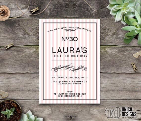 Classy & Fabulous Birthday Invitation by UnicoDesignsInvites