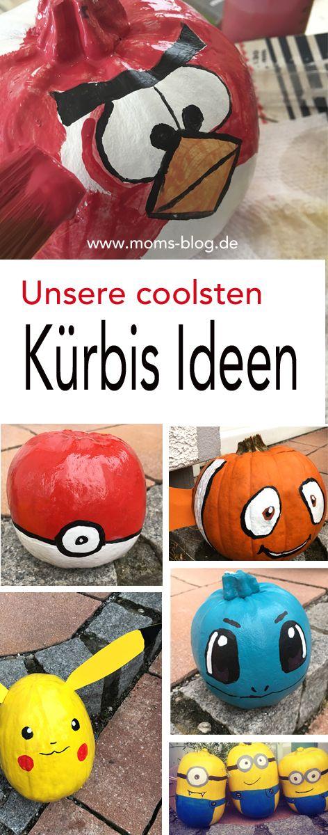 Coole Idee, oder? Unsere Kürbisse sehen in diesem Jahr wieder etwas bunter aus, als die der Nachbarn :-) Es gibt z.B. einen Pokeball-Kürbis einen Pikachu - Kürbis, einen Angry Bird, einen Nemo etc.  #Pumpkin #halloween #crafts Die Anleitung zum Kürbis Bemalen gibt es hier: http://www.moms-blog.de/anleitung-minion-kuerbisse-bemalen/