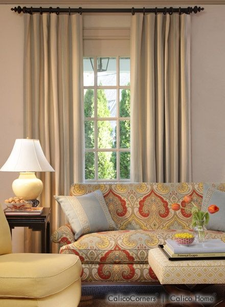 flat panel drapery sunrise collection living room view close up