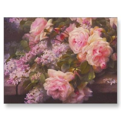 Vintage Victorian Pink Roses: Lilacs Postcards, Victorian Rose, Victorian Pink, Rose Paintings, Chic Victorian, Art Posters, Lilacs Posters, Pink Rose, Floral Art