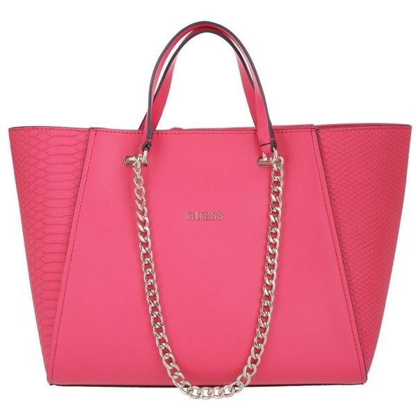 Guess Nikki Chain Tote Passion in gold, magenta, Handle Bags ($155) ❤ liked on Polyvore featuring bags, handbags, tote bags, tote handbags, zip tote bag, pink handbags, guess tote bags and gold purse