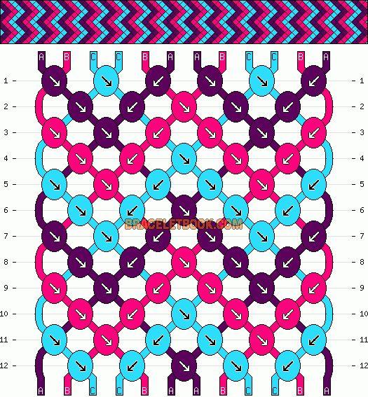 Normal Friendship Bracelet Pattern #4435 - BraceletBook.com