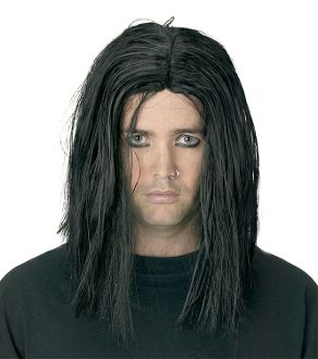 Gothic Long BLACK SINISTER WIG Punk Grunge Rockabilly Halloween Costume Accessory-Men's Unisex. Straight Style Centered part. Fancy Dress Cosplay Accessories. Funky aspiring anarchist, witch, wizard, vampire, warlock, movie star or pop singing icon! http://www.horror-hall.com/Gothic-Long-BLACK-SINISTER-WIG-Punk-Grunge-Halloween-Costume-Men-HH-MR-FW-92308.htm