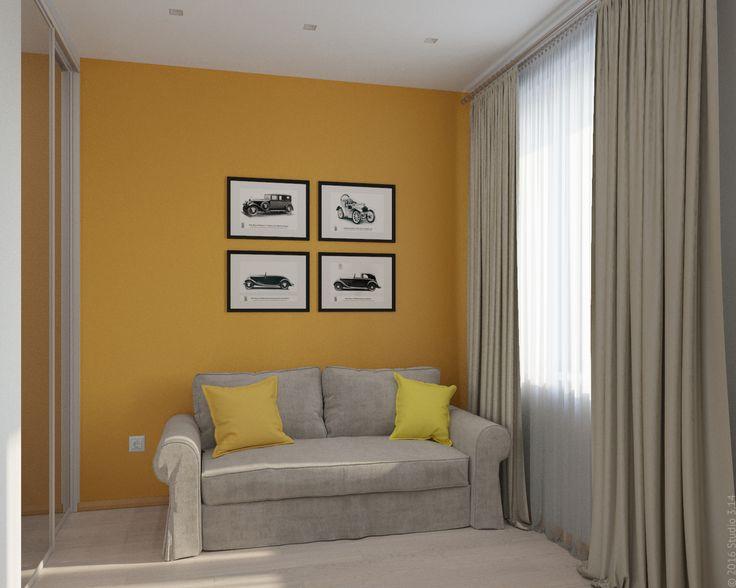 Гостевая комната на первом этаже таунхауса выполнена в той же цветовой гамме.
