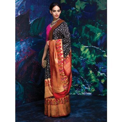 Black and Beige Banarasi Silk Saree with Weaving Work