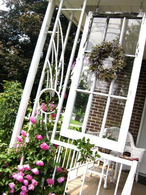 This would add so much appeal to our porch and would be simple to doGardens Ideas, Porches Windows, Repurposing Windows, Windows Frames, Porches Decor, Porches Ideas, Re Purpose Windows, Front Porches, Window Frames