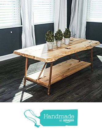 "Niangua Furniture Live Edge Rustic Coffee Table with Copper Pipe Legs - 48"" x 23"" from NianguaFurniture https://smile.amazon.com/dp/B01DLDD98M/ref=hnd_sw_r_pi_dp_Gq5gybKBT8K67 #handmadeatamazon"