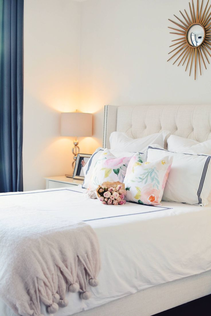 Spring Bedroom decor, floral pillows