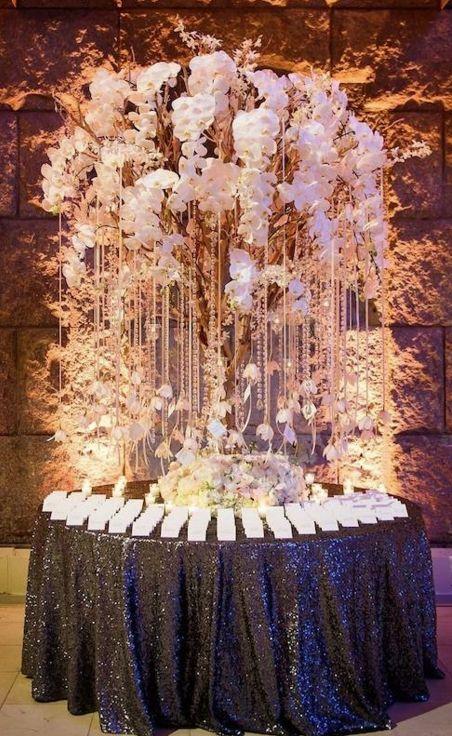 photo: Brian Dorsey Studios; Classic wedding reception escort card table idea;