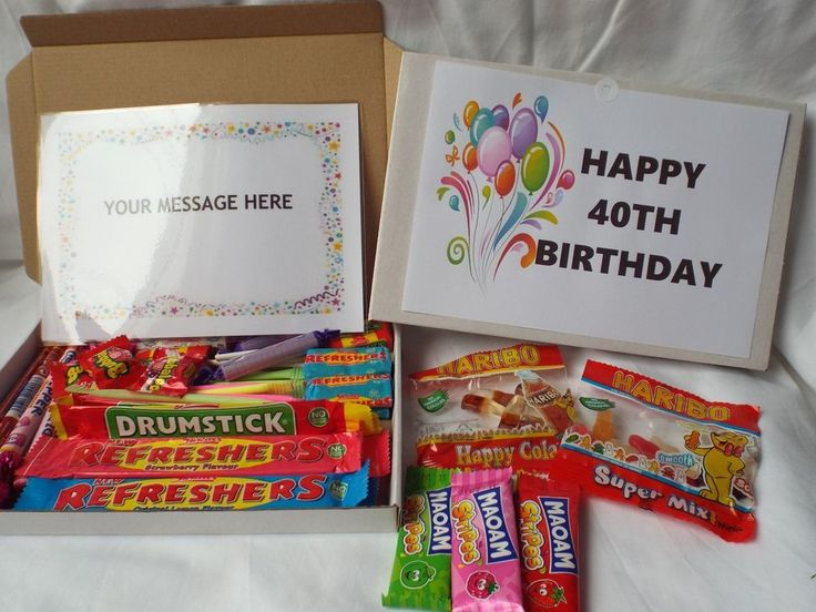 Retro Sweets Gift Box 40th Birthday FREE personalised message (45 sweets)  | eBay