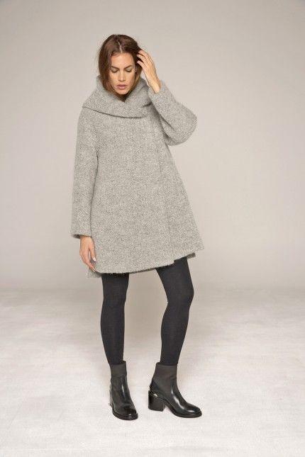 Manteau gris bouclette court, grande capuche #manteau #bouclette #cocoon #gris #femme #qualité #lenerfabriquedemanteaux