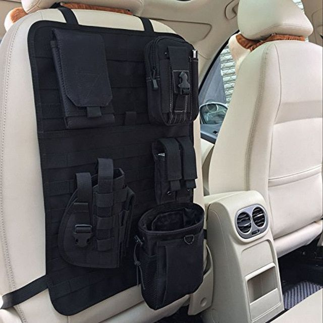 Tactical Molle Car Seat Back Cover Organizer Storage Pouch Bag Vehicle Panel Bag