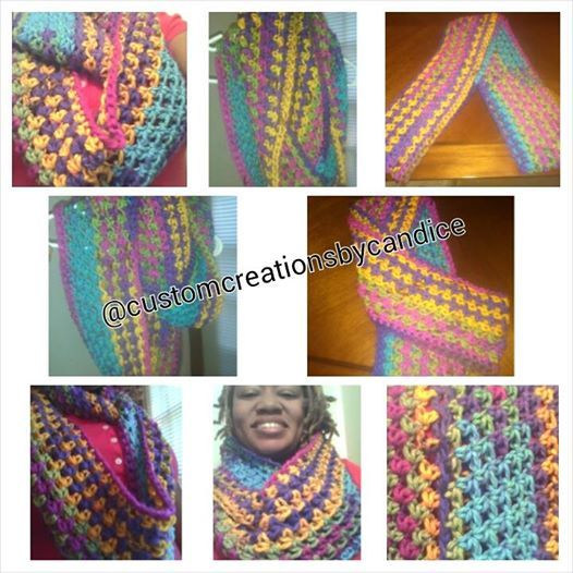 Crochet Chunky colorful infinity scarf