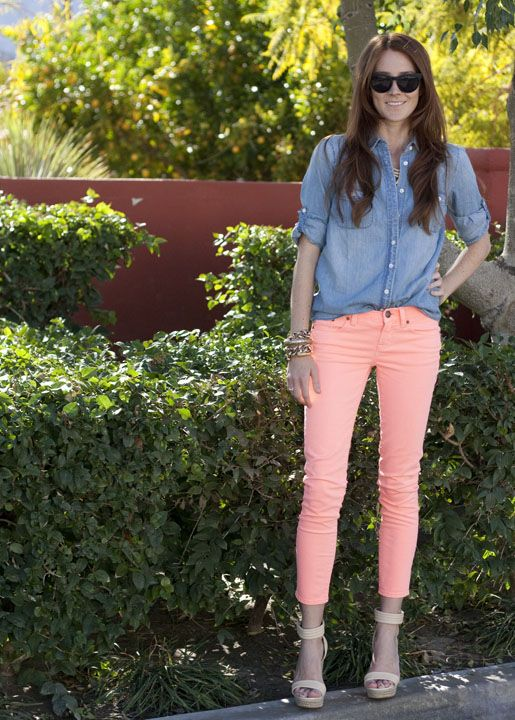 J.Crew Toothpick Jean in Neon Persimmon, J.Crew Keeper Chambray Top, Mark + James Espadrilles, Raen Breslin Sunglasses, Ariel Gordon Stacked Rings, Jennifer Fisher Bone Cuff, Vintage Chain Bracelet and Necklace from Ava & Aliria,