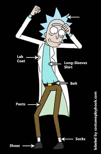 His spiky light blue hair is enough reason to dress up as for Rick and morty craft list