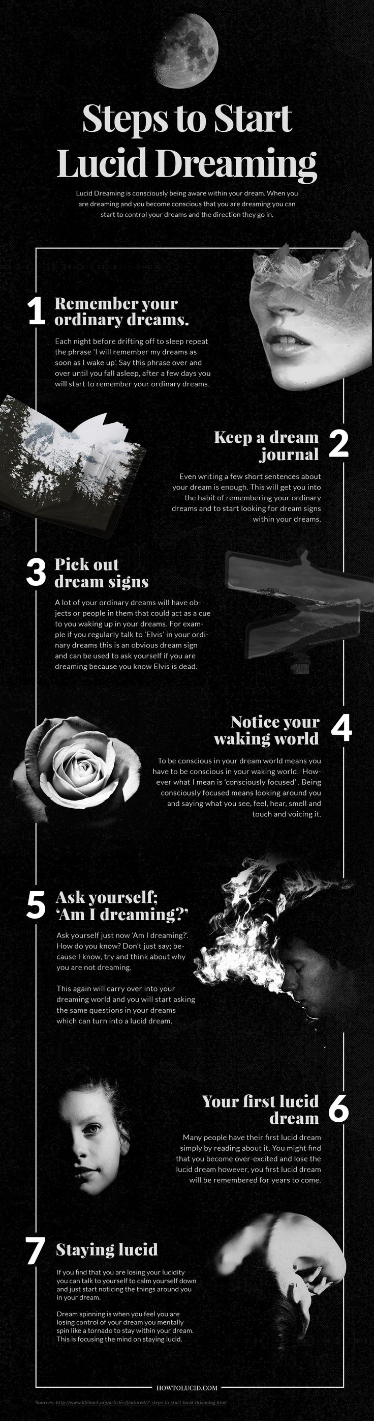 We've created a visually beautiful explanation of how to get started with lucid dreaming or the art of controlling your dreams when you sleep. Lucid dreaming is a proven ability to control what you dream about and be aware of yourself dreaming as you're actually dreaming. #infographics