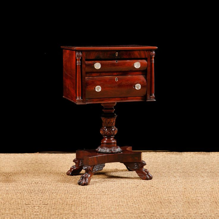 Antique American Empire Side Table In Mahogany Bonnin Ashley Antiques Miami Fl Sewing