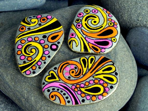 Happy Hippie Rock Magnets / set of 3 /Sandi Pike Foundas / Cape Cod via Etsy