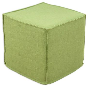"""Chooty Burlap Avocado Collection 17"""" Square Seamed Foam Ottoman - transitional - Ottomans And Cubes - Beyond Stores"""