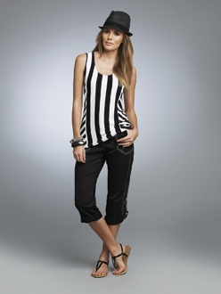 BLACK 4    S13416  Multi Striped Scoop Neck Tank  Available in *Black/White  Sizes: XS - XXL    S13409  Convertible Capri  Available in *Black, White  Sizes: 2 - 18