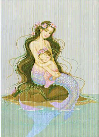 Pinn Stitch Mermaid Heaven - Cross Stitch Pattern. Designed to express the deepest love between mother and child through the portrait of a beautiful mermaid and