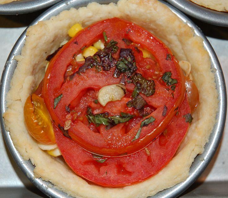 Picnic in a pie: Tomato, Corn, Basil and Bacon Pie | Recipe