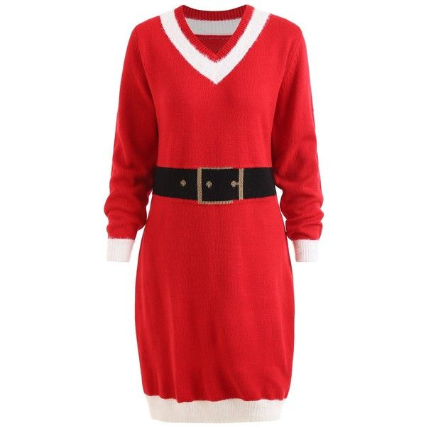 Red 5xl Christmas Faux Belt Jacquard Plus Size Sweater ($16) ❤ liked on Polyvore featuring tops, sweaters, womens plus tops, red top, jacquard sweater, red plus size tops and plus size tops